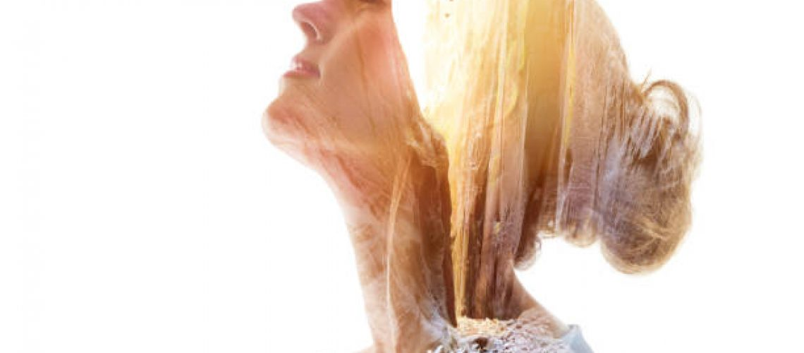 Multiple Exposure of a young woman in The Narrows. Zion National Park. Orderville Canyon